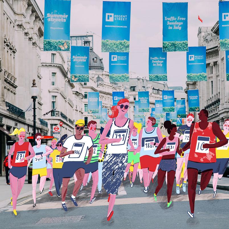 HannahWarren-RegentStreet-10k-Runners-JellyLondon-Illustration