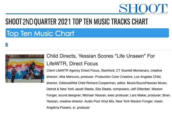 #5 on SHOOT'S TOP TEN MUSIC TRACK CHART